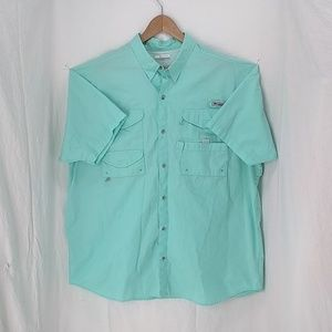Columbia PFG light aqua fishing shirt XXL